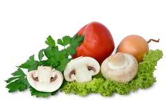 Fresh mushrooms with vegetables. Fresh champignon mushrooms with assorted vegetables on green lettuce leaf royalty free stock photo