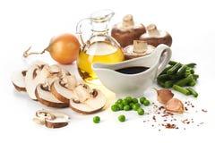 Fresh mushrooms and vegetables ingredients Stock Image