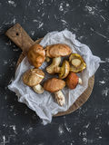 Fresh mushrooms on a wooden cutting board. On a dark background Stock Photo