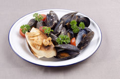 Fresh mussel and garlic baguette Stock Photo