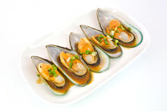 Fresh Mussels for grill isolate on white background Royalty Free Stock Photo