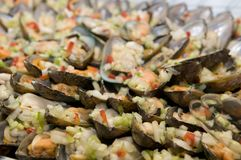 Fresh mussels with onions Royalty Free Stock Photo