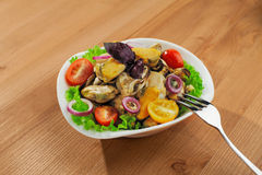 Fresh mussels salad Royalty Free Stock Images