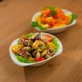 Fresh mussels salad Stock Photo