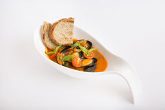 Fresh mussels soup Royalty Free Stock Photography
