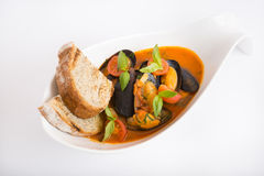 Fresh mussels soup Stock Photo