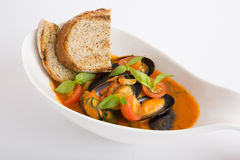Fresh mussels soup Stock Image