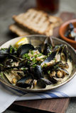 Fresh Mussels in White Wine Broth Royalty Free Stock Photos
