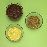 Fresh mustard, elevated view Royalty Free Stock Image