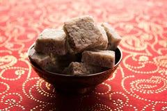 Nariyal Barfi / Coconut Burfi or Khobra Vadi, served in a bowl or plate. Fresh Nariyal Barfi / Coconut Burfi or Khobra Vadi, served in a bowl or plate over Royalty Free Stock Photos