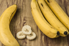 Fresh natural banana bunch. Fresh and natural banana Tabasco on wood table Stock Photography