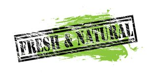Fresh and natural black and green stamp on white background. Fresh and natural black and green stamp stock illustration
