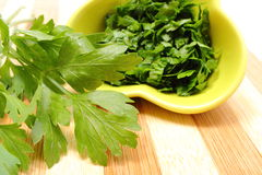 Fresh, natural and chopped parsley on wooden cutting board Royalty Free Stock Photos