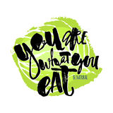 Fresh and 100% natural food concept hand lettering motivation po. Ster. Natural and eco-friendly nutrition promotion sign. Modern brush calligraphy for a logo Stock Photos