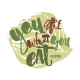 Fresh and 100% natural food concept hand lettering motivation po. Ster. Natural and eco-friendly nutrition promotion sign. Modern brush calligraphy for a logo royalty free illustration