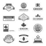 Fresh and natural food logos Royalty Free Stock Images