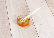 Fresh natural honey in jar with spoon Royalty Free Stock Images