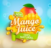 Fresh and natural Mango juice. Vector illustration. Fresh and natural Mango juice with mango slices in juice splash. Perfect for retail marketing promotion and Vector Illustration