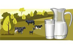 Fresh natural milk with cow. Vector illustration Stock Photos
