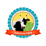Fresh and natural milk logo Royalty Free Stock Image