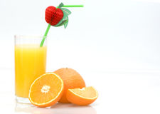 fresh natural orange juice and orange fruits Royalty Free Stock Photos