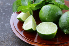 Fresh natural organic green lime with mint Stock Photography