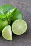 Fresh natural organic green lime with mint Stock Image