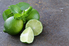 Fresh natural organic green lime with mint Royalty Free Stock Image