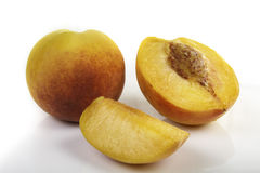 Fresh natural ripe peach portions. Fresh natural ripe peach ready to eat Stock Photography