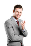 Fresh and natural smiling businessman explain Stock Photography