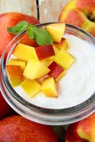 Fresh natural yogurt with peach Royalty Free Stock Image