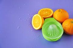 Fresh Navel Orange with Juicer on Background Stock Photos