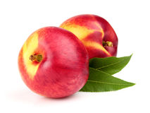 Fresh nectarine with leaves Stock Image