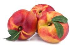 Fresh nectarine or peach. Isolated on white stock image