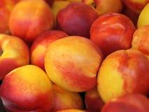 Fresh Nectarines. Background, juicy fruits on market Royalty Free Stock Images