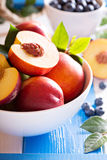 Fresh nectarines in a bowl Royalty Free Stock Image