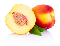 Fresh nectarines fruit isolated on white background Stock Photos