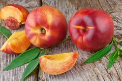 Fresh nectarines or peach Stock Photo