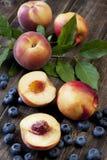Fresh nectarines and peaches Stock Photos
