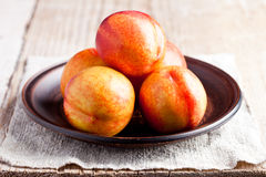 Fresh nectarines in a plate Stock Photos