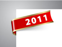 Fresh New Year corner ribbon on a red paper. With golden borders Stock Image