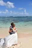 Fresh newly-weds in wedding dresses on caribbean islands stock image