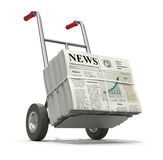 Fresh newspaper. 3D concept with pile of newspapers with lorem ipsum text and hand truck Royalty Free Stock Photography