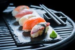 Fresh Nigiri sushi made of salmon and rice Stock Photography