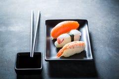 Fresh Nigiri sushi with octopus, prawn and salmon Stock Photos