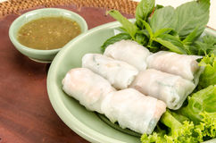 Fresh noodle spring roll Royalty Free Stock Image