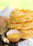 Fresh noodles with egg Stock Photo
