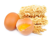 Fresh noodles with eggs Stock Photo