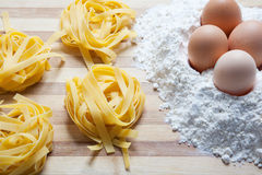 Fresh noodles with eggs Royalty Free Stock Photo
