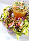 Fresh noodles spring roll Stock Photo